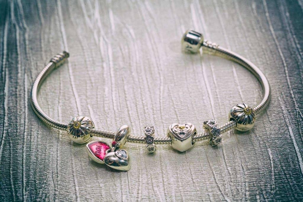 Close-up of Pandora jewelry bracelet with charms