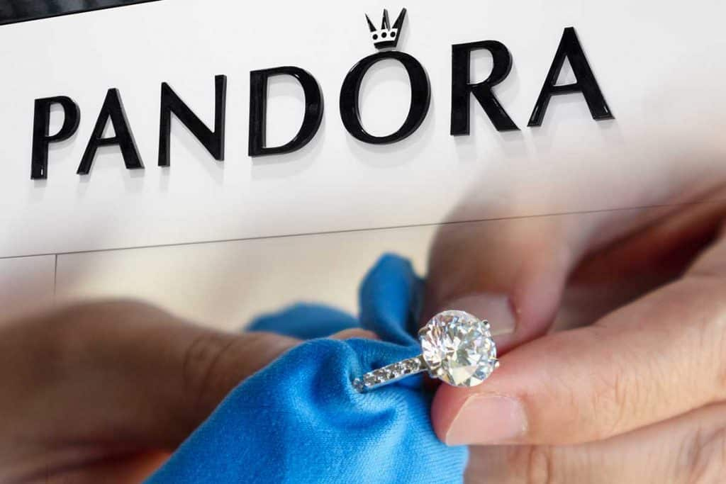 Collage of a jeweller hand polishing and cleaning jewelry diamond ring with micro fiber fabric and Pandora logo in shopping centre, 7 Best Pandora Jewelry Cleaners And Cleaning Cloths