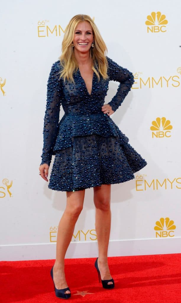Julia Roberts (wearing an Elie Saab Couture dress) wearing navy shoes