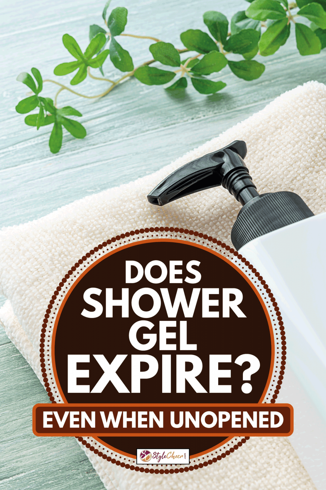 Liquid soap bottle and towel on wooden background, Does Shower Gel Expire? (Even When Unopened)