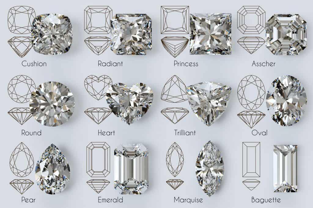 Popular diamond cut shapes: round, cushion, princess, radiant, emerald, trilliant, heart, oval, pear, marquise, baguette, asscher