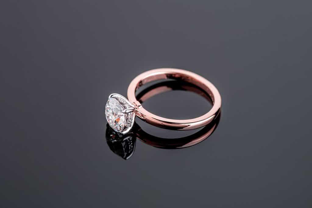 Rose gold diamond engagement jewelry ring