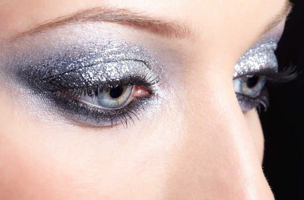 Shining woman eyes makeup