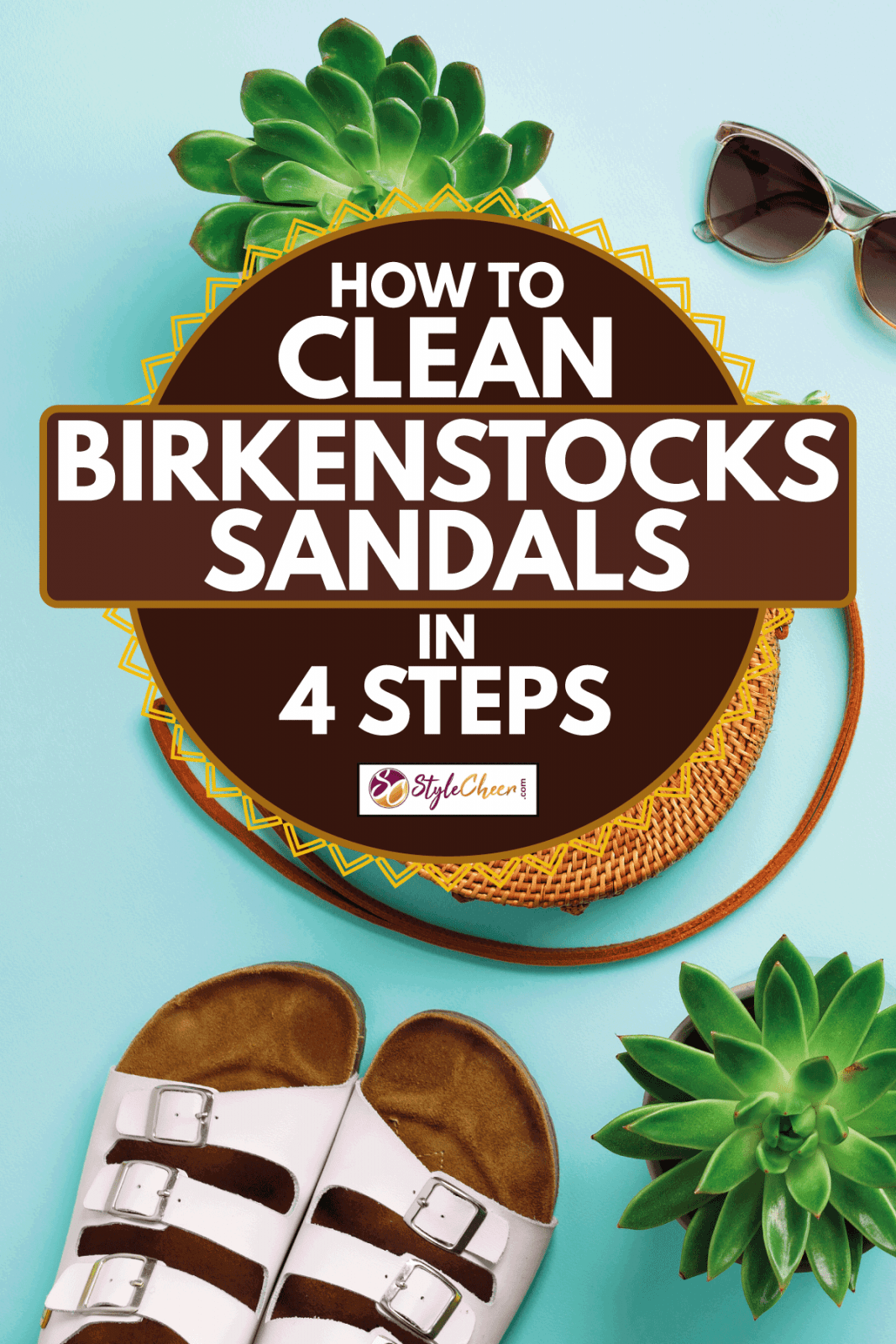 Stylish rattan bag, birkenstocks, succulent and sunglasses on blue background, How To Clean Birkenstocks Sandals in 4 Steps
