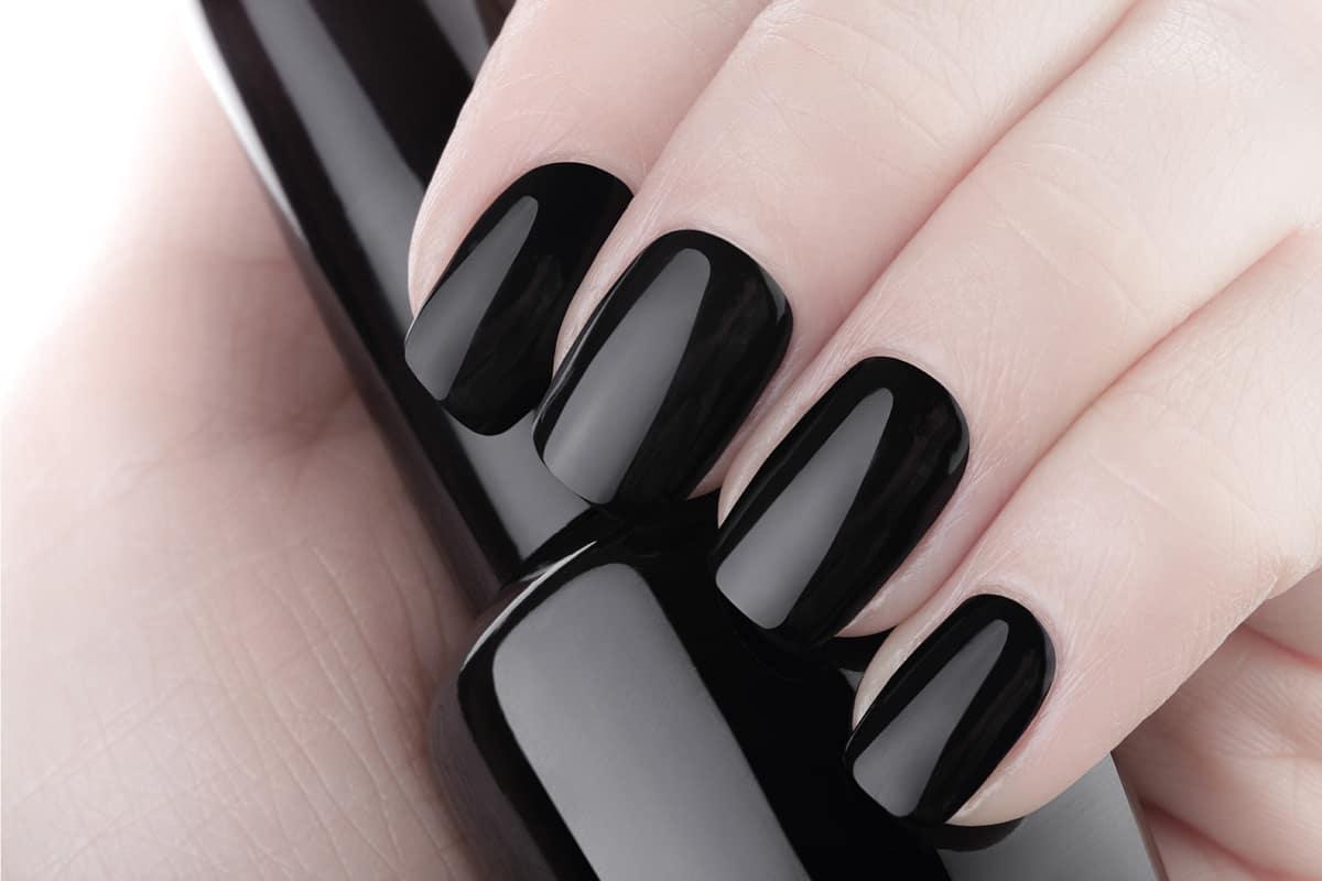 Very beautiful black nails close up