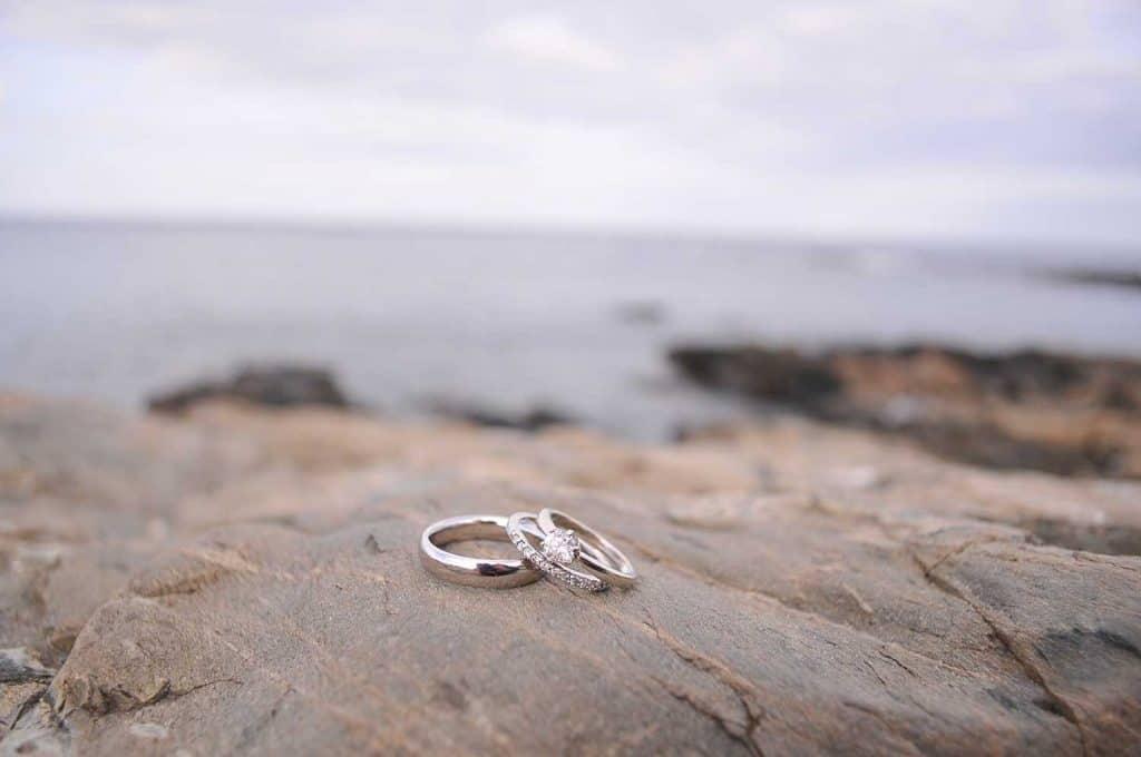 Wedding bands on granite coastline