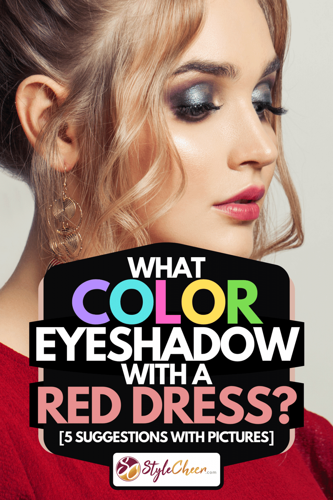 A beautiful model woman with trendy fashionable makeup wearing red dress, What Color Eyeshadow With a Red Dress? [5 Suggestions with Pictures]