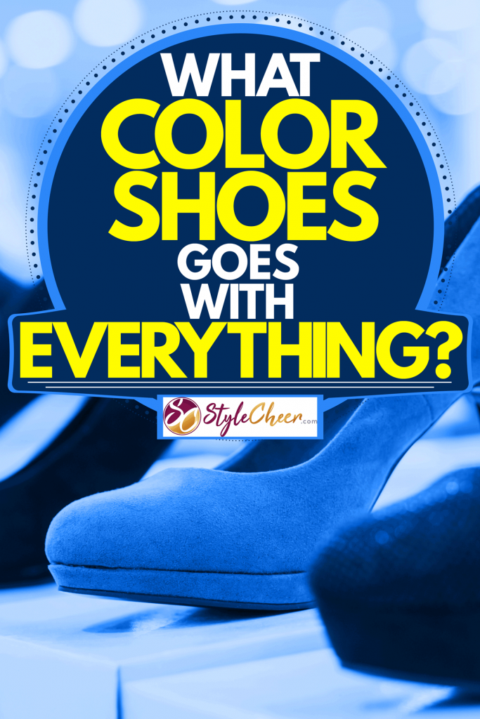 Women's navy blue high heeled shoes on display at a fashion store, What Color Shoes Goes With Everything?