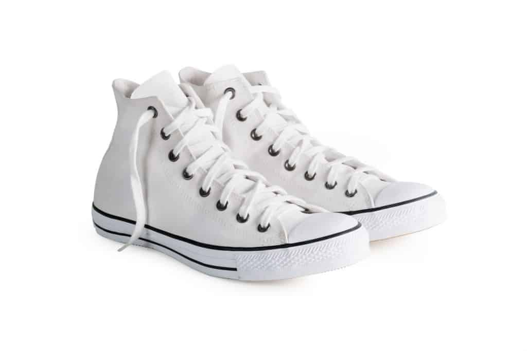 White womens sneakers on a white background