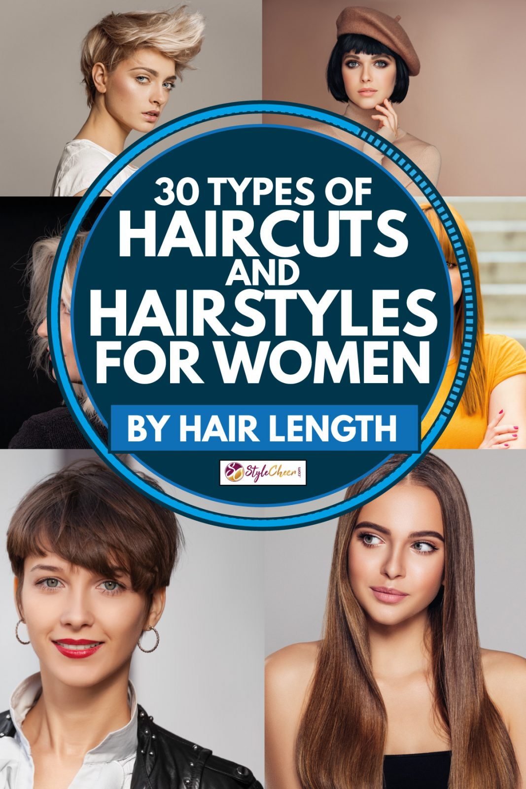 collage of photos of women wearing different hairstyles, 30 Types Of Haircuts And Hairstyles For Women (By Hair Length)