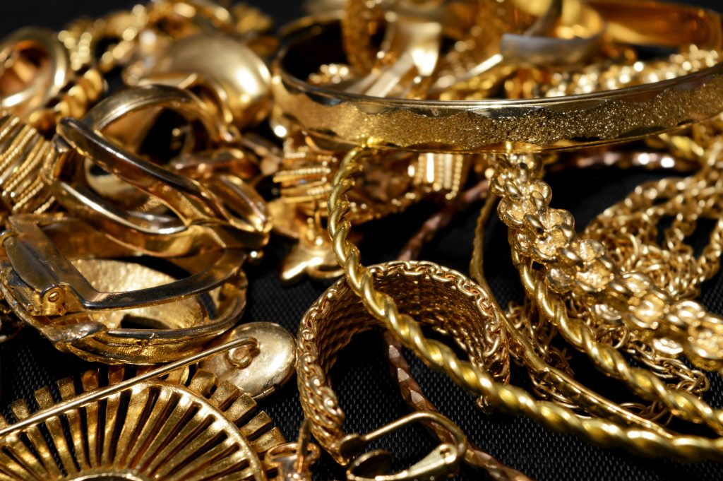 Closeup view of some scrap gold ready for refining.