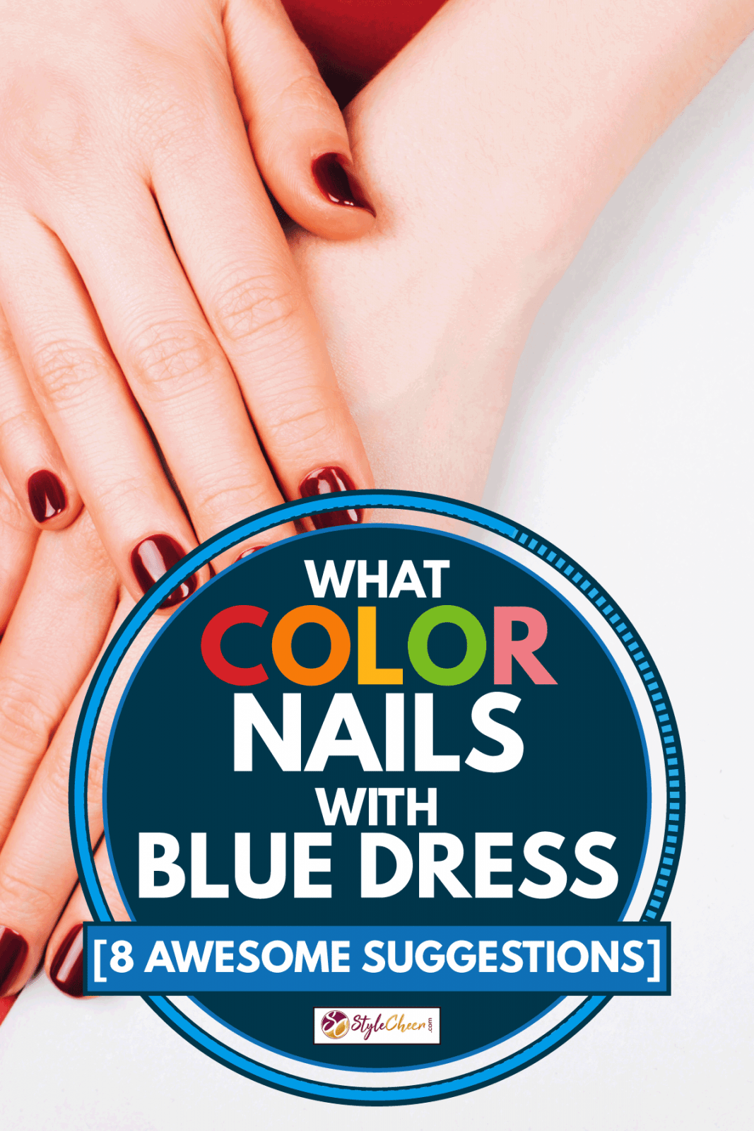 Red beautiful manicure of a lady against a white background, What Color Nails With Blue Dress [8 Awesome Suggestions]