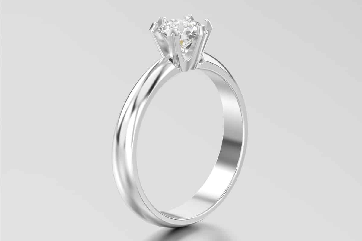 White gold or silver traditional solitaire engagement ring with four to six prong setting