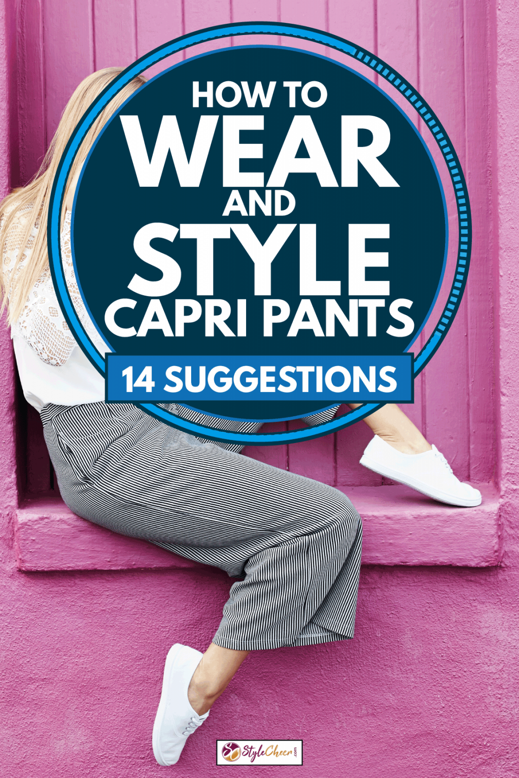 Woman sitting happily by an elevated doorway, How To Wear And Style Capri Pants [14 Suggestions]