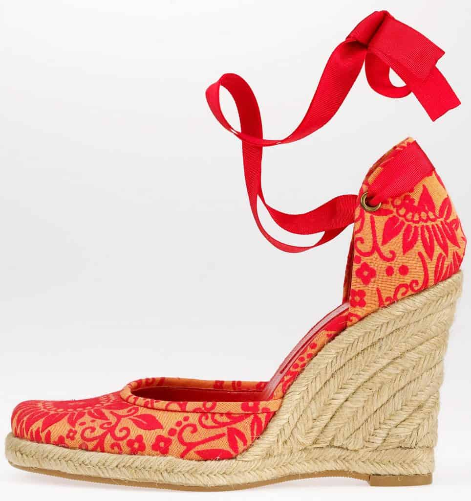 A simple high heel, patterned red rope wedge sandal