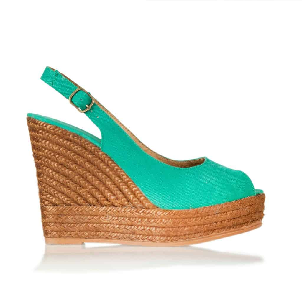 Women's wedge shoes with light blue green design