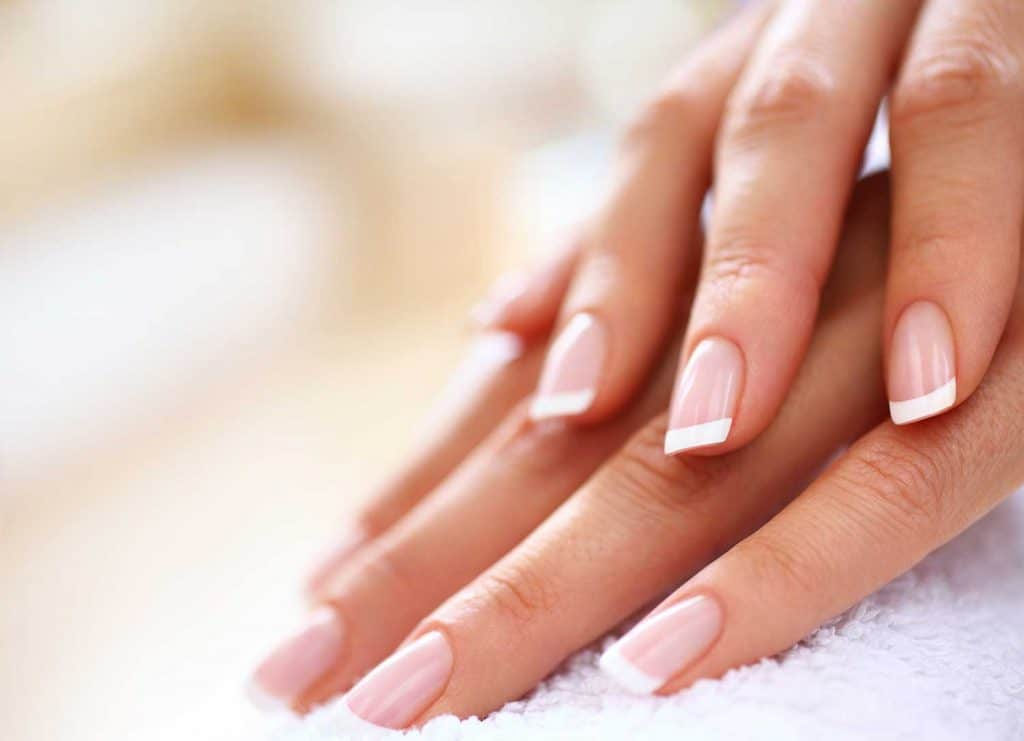 Close up of nicely manicured female fingernails