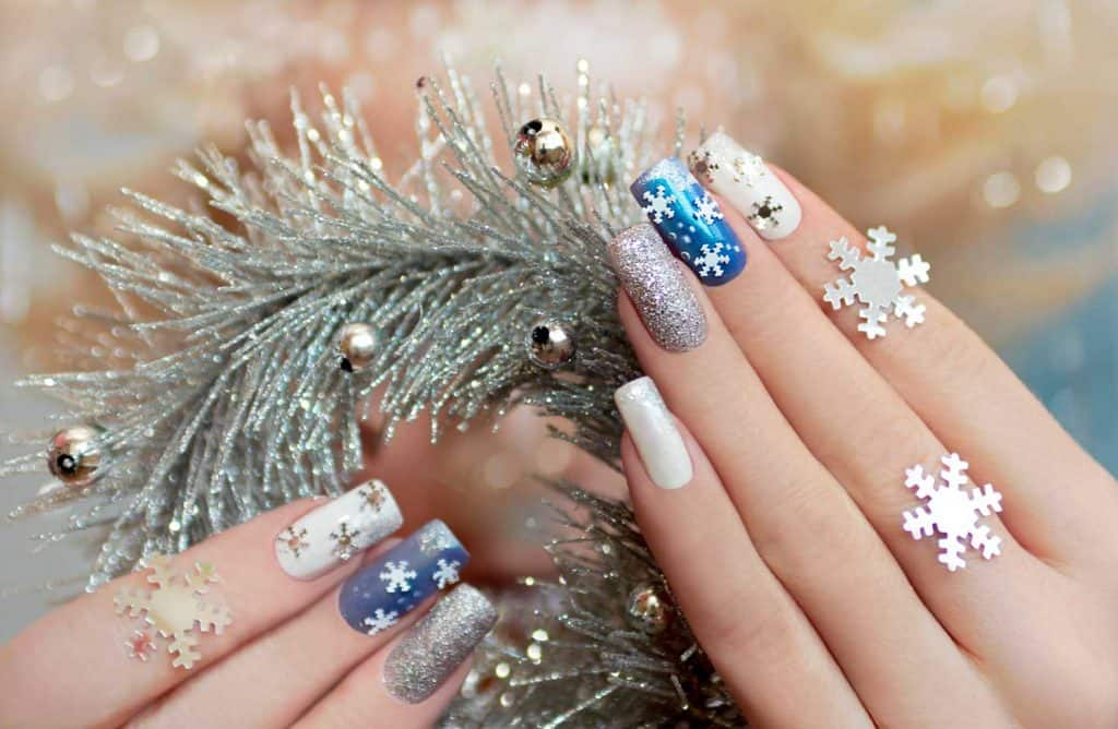 Hand manicured with snowflakes design