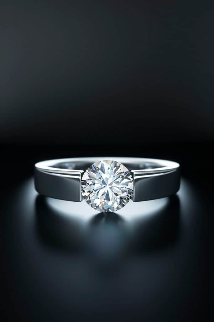 Large Solitaire Diamond Ring isolated on black background