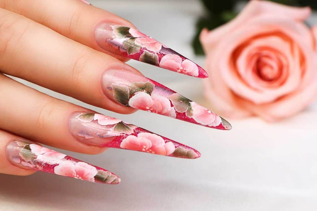 Nails manicured with floral design