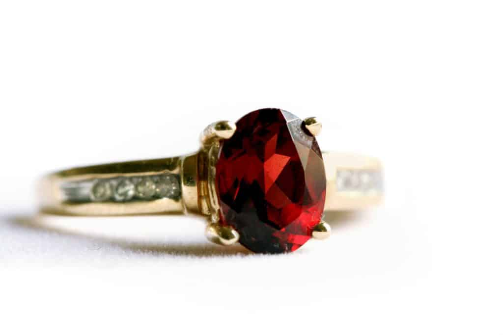 Ruby ring on white background