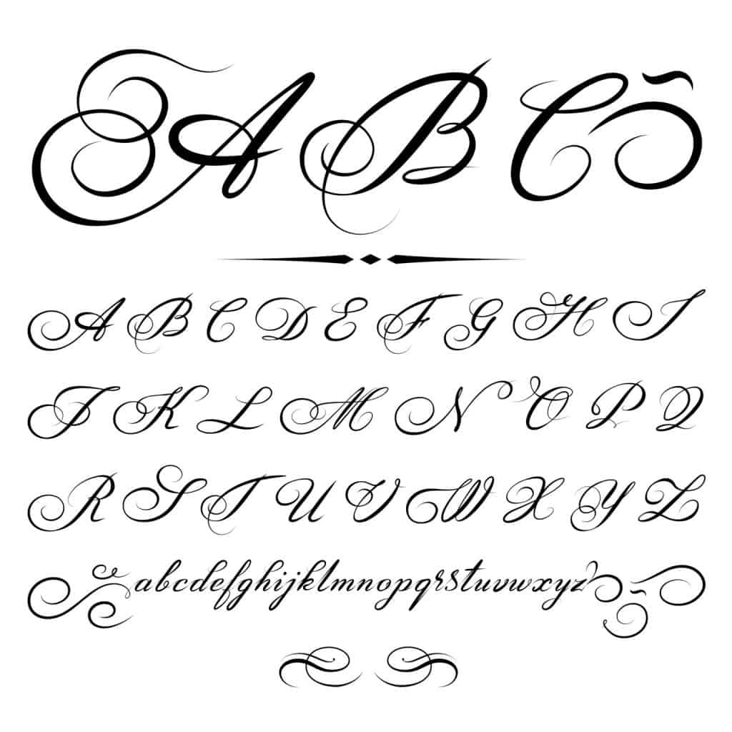 Script alphabet on a white backgorund