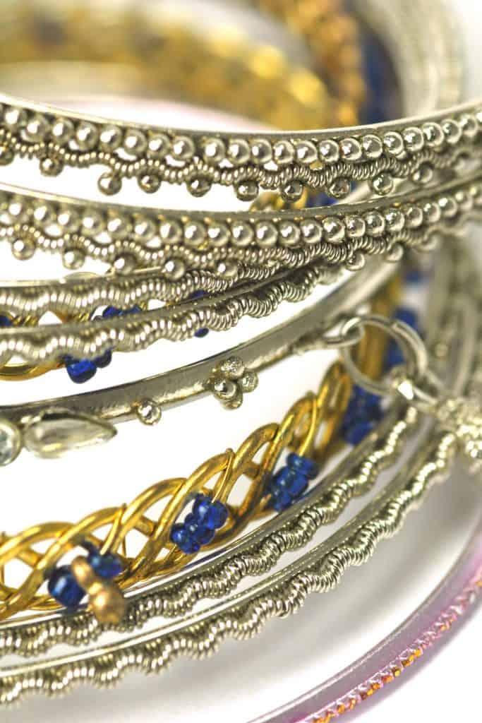 Bangle bracelets on a white background