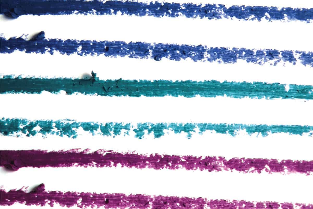 Close up of a eyeliner pencil drawing in assorted colors