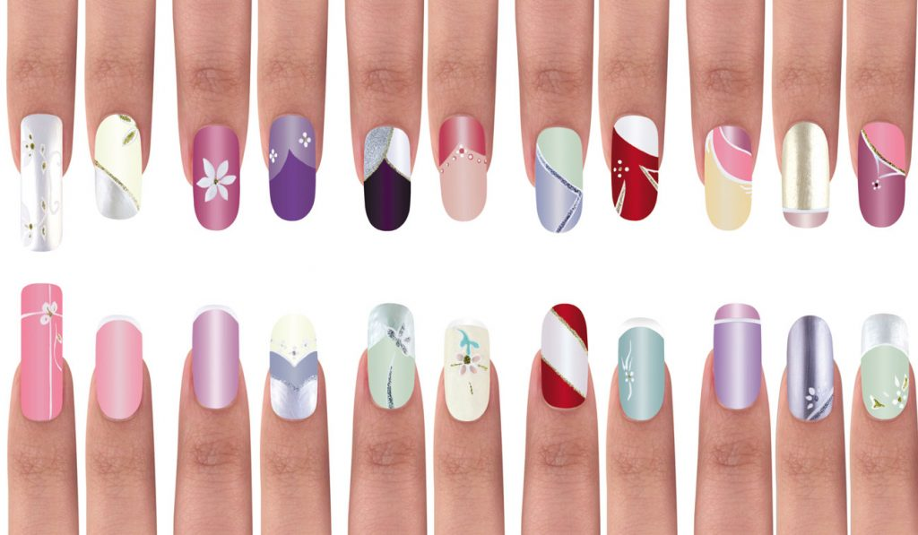 Different nail designs on a white background