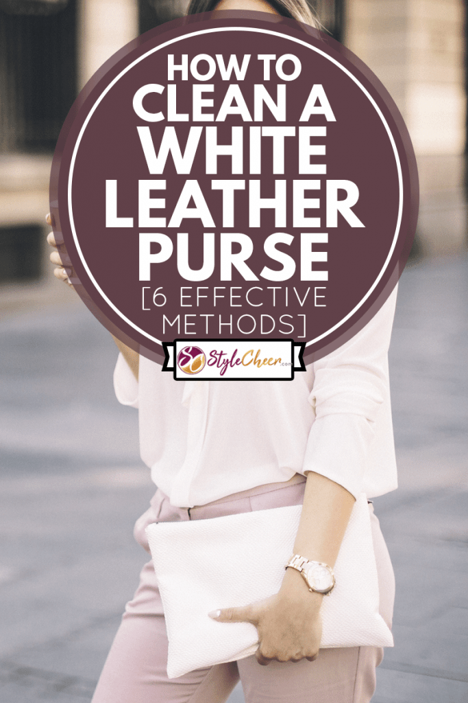 Portraits of businesswoman in the city using technology and having a coffee holding a white leather shoes, How To Clean A White Leather Purse [6 Effective Methods]