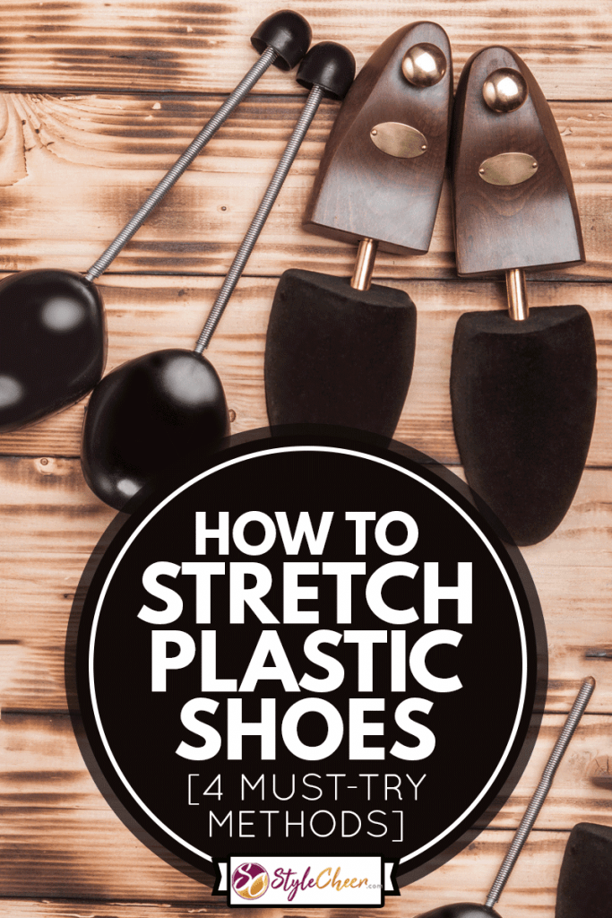 wo pairs of shoetree on the vintage background fired wood, How To Stretch Plastic Shoes [4 Must-Try Methods]