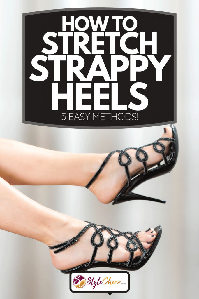 A woman´s legs in elegant high heel shoes in black patent leather with rhinestones, How To Stretch Strappy Heels [5 Easy Methods!]