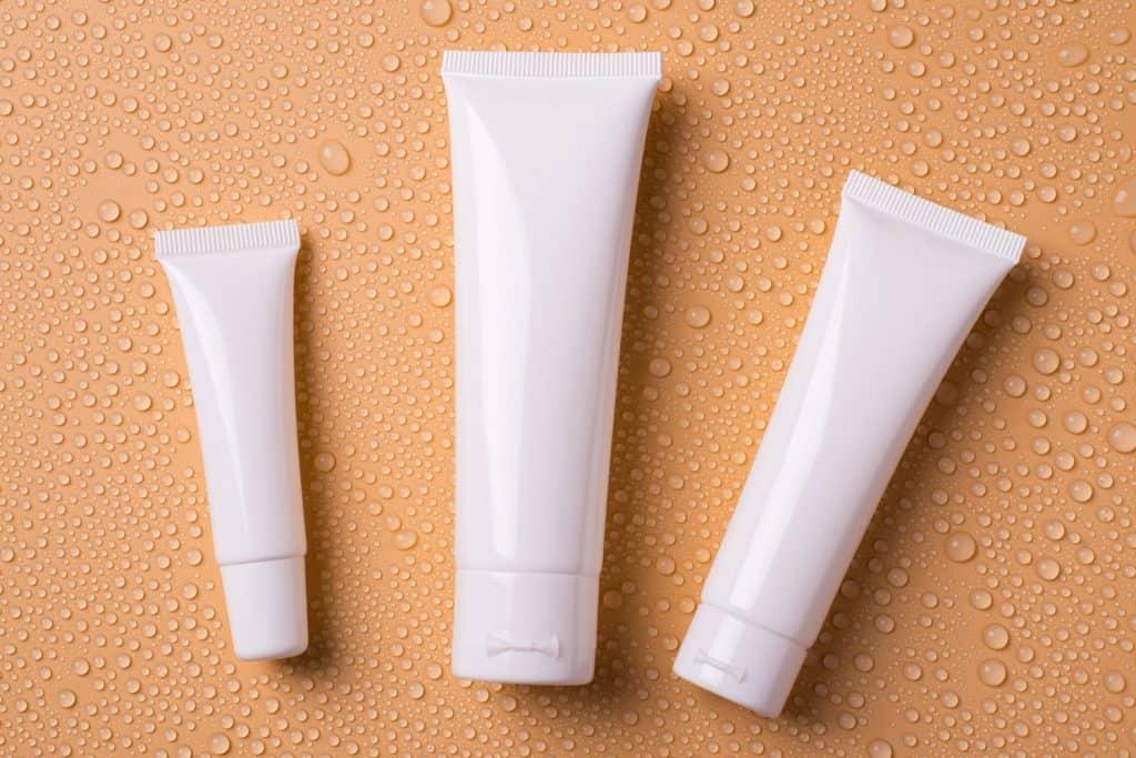 Shampoo products on we orange background