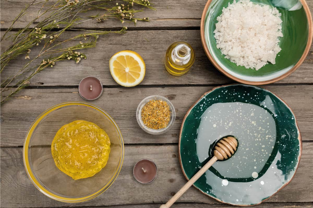 assorted ingredients for an effective sugar body scrub