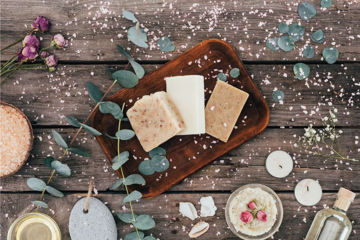 homemade natural soap, eucalyptus, spa treatment and salt on wooden board. Should You Exfoliate Your Whole Body