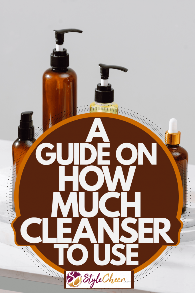 Different varieties of skin care products on a gray background, A Guide On How Much Cleanser To Use