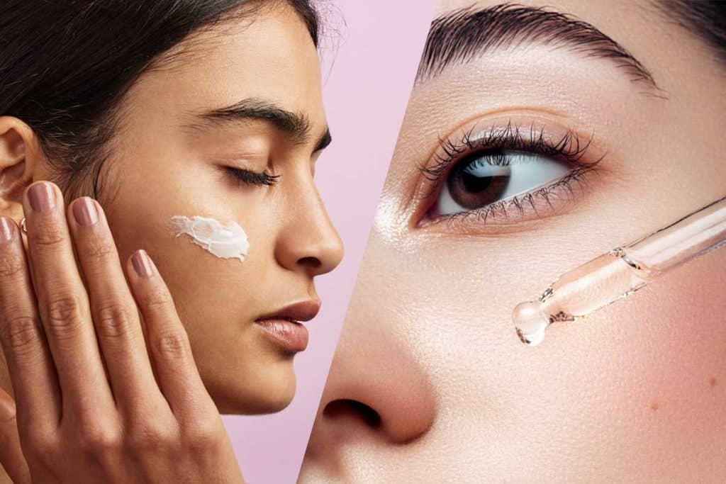 A collage of moisturizer and hydrator applied on a woman's face, Moisturizer Vs Hydrator - Which To Choose