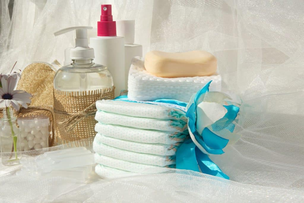 A complete hygiene kit for babies laid out