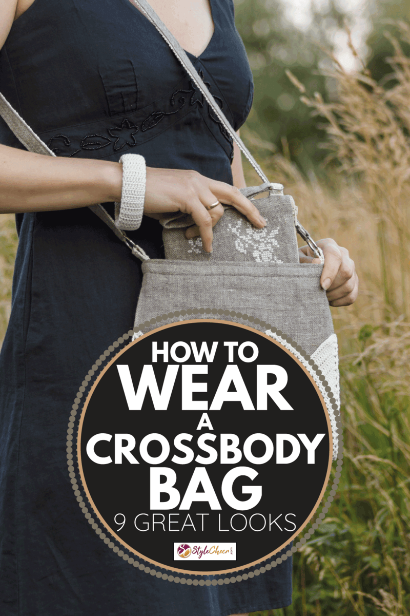 Crossbody bag in women's hands. Makeup bag and bracelet. Linen bag. Knitted white. How To Wear A Crossbody Bag [9 Great Looks]