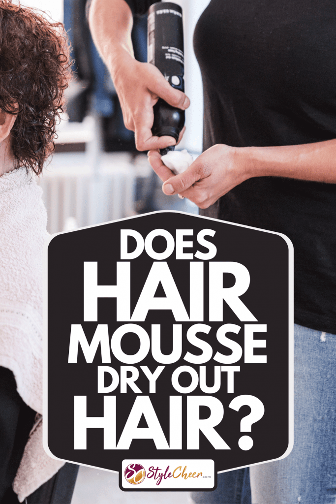A hairdresser apply styling mousse and make a hairstyle for an older customer, Does Hair Mousse Dry Out Hair?