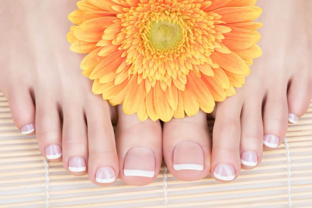 Female feet with french pedicure