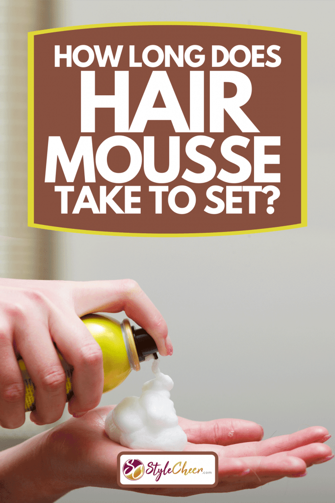 Close-up photo of hairdresser hairstylist female hand with hair mousse spray, How Long Does Hair Mousse Take To Set?
