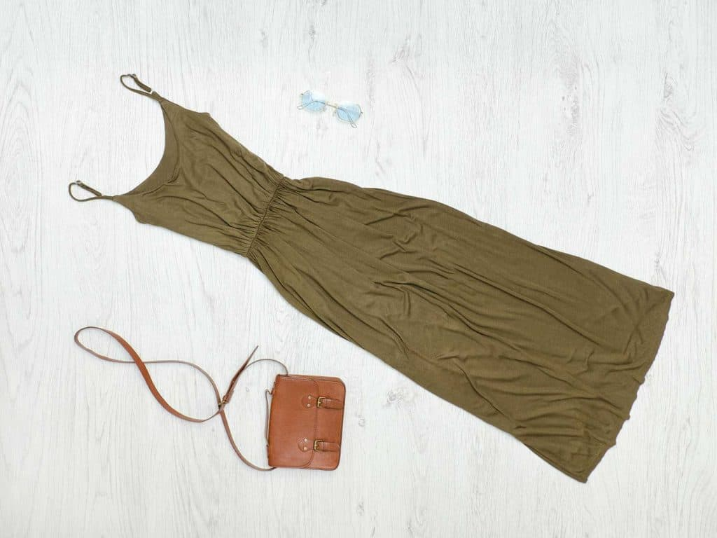 Khaki dress, handbag and sunglasses