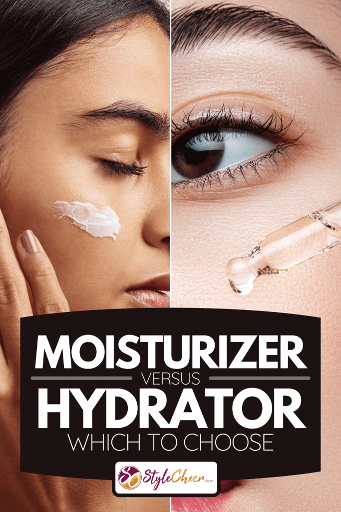 Collage of moisturizer and hydrator applied on a woman's face, Moisturizer Vs Hydrator - Which To Choose