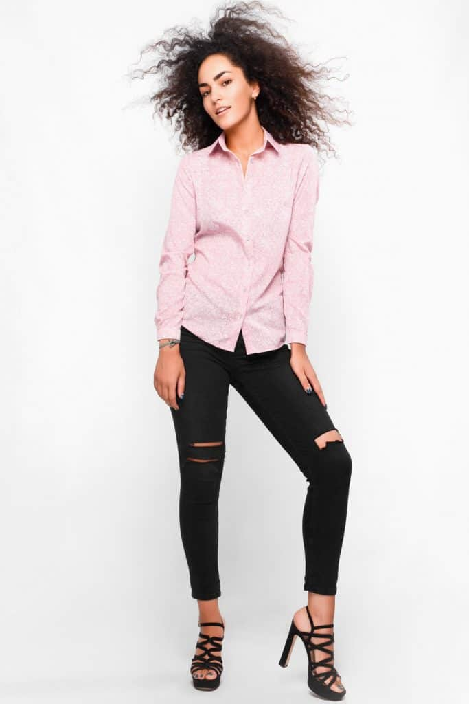 Stylish attractive woman with black jeans