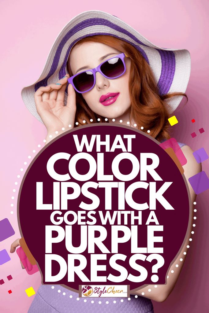 A woman wearing a purple dress, purple sunglasses, and a purple sunhat on a purple background, What Color Lipstick Goes With A Purple Dress?