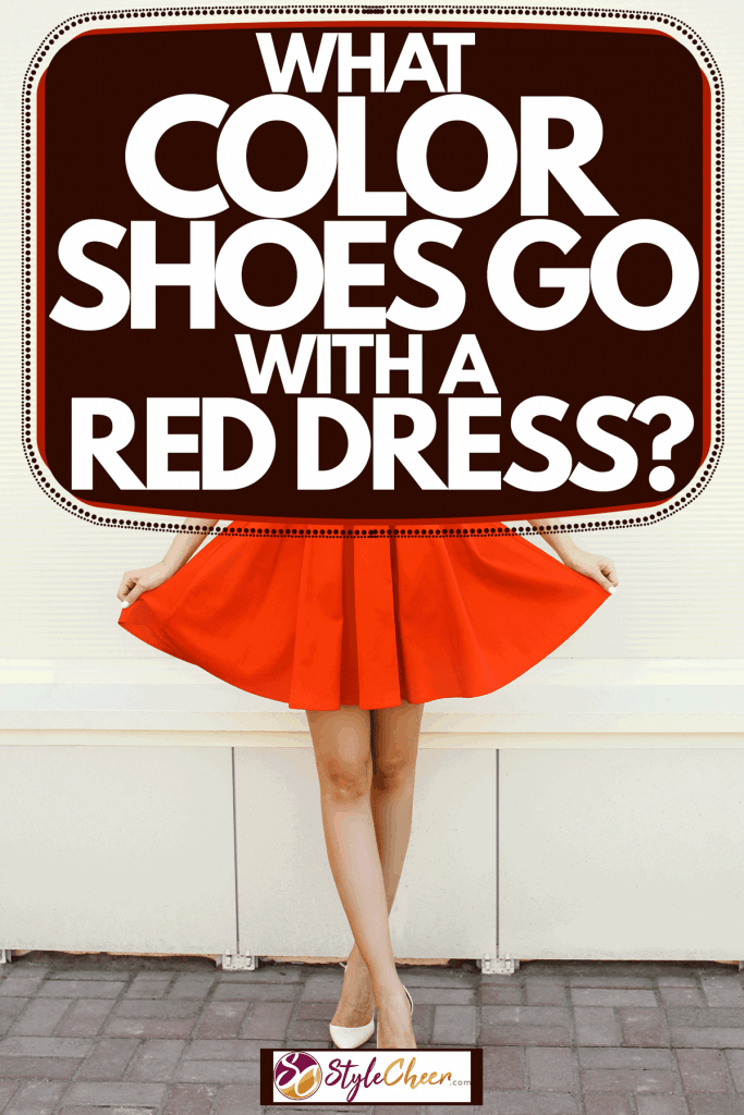 A woman wearing a red dress and silver shoes, What Color Shoes Go With A Red Dress?