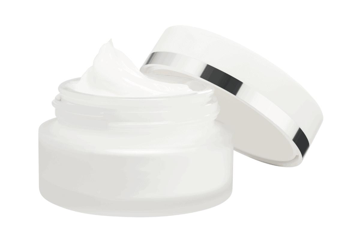opened face cream container