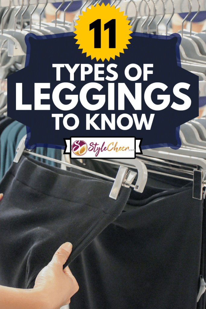 Close up females hand holding and touching a black jersey fabric legging, 11 Types Of Leggings To Know