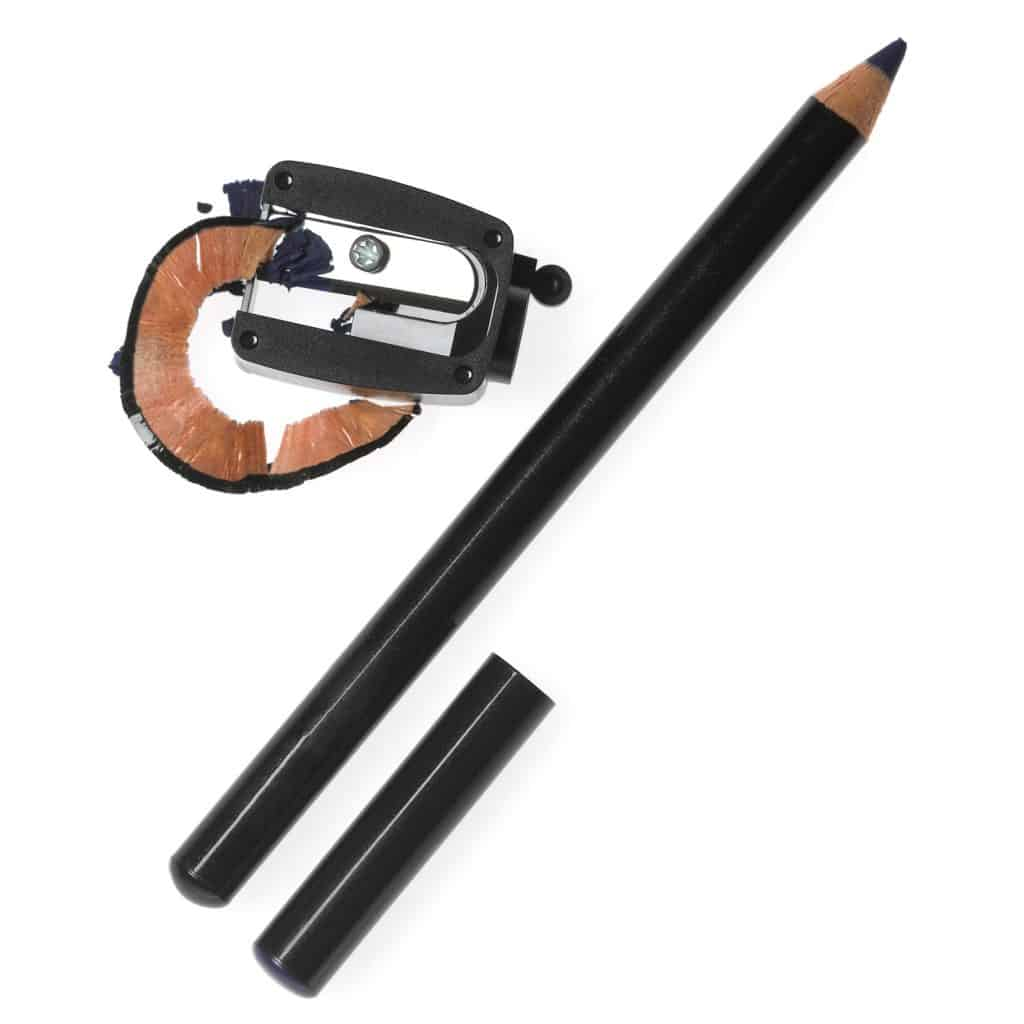 A black colored eyeliner newly sharpened on a white background